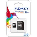 Card ADATA Micro SDHC 8GB Clasa 4 + Adaptor SD AUSDH8GCL4-RA1