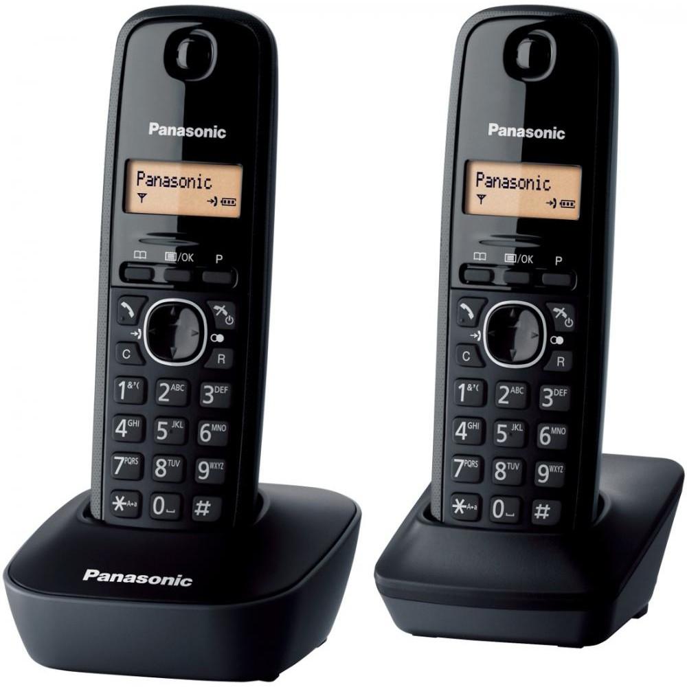 Telefon fara fir DECT Twin KX-TG1612FXH cu 2 receptoare Caller ID Negru thumbnail