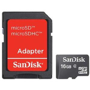 Card Sandisk microSDHC 16GB Class 4 cu adaptor SD