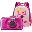 Coolpix S33 13.2 Mpx zoom optic 3x subacvatic Backpack Kit Roz