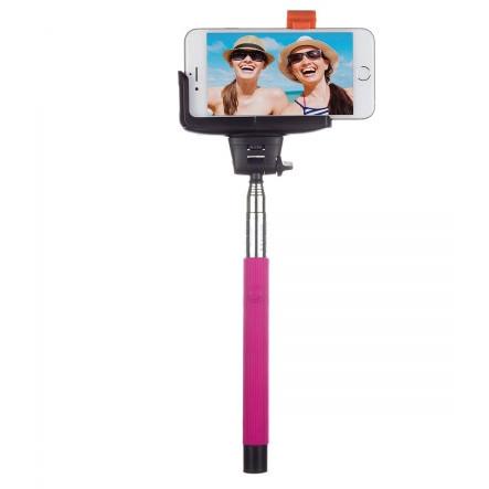 Selfie Stick BTSSPHPI extensibil cu control actionare shutter pe bluetooth si suport de telefon Pink thumbnail