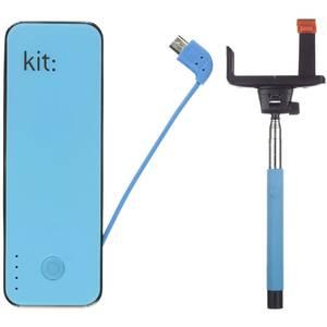 Acumulator extern Kit Fashion 4500 mAh plus Selfie Stick extensibil blue