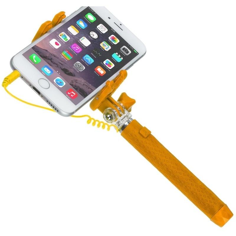 Selfie Stick KVPKSSWOR portocaliu extensibil de buzunar cu control actionare shutter pe fir thumbnail