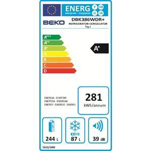 Combina frigorifica Beko DBK386WDR+ Clasa A+ 380 litri Alb
