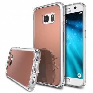 Husa Protectie Spate Ringke Mirror Rose Gold plus folie protectie pentru Samsung Galaxy S7