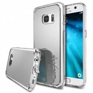 Husa Protectie Spate Ringke Mirror Silver plus folie protectie pentru Samsung Galaxy S6