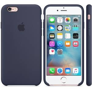 Husa Flip Cover Apple Silicone Case Midninght Albastru pentru Iphone 6s