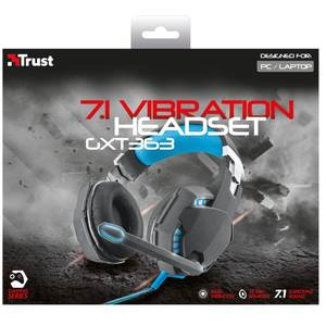 Casti Trust GXT 363 7.1 Bass Vibration Black / Blue
