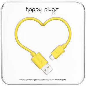 Cablu de date Happy Plugs 9923 microUSB 2m Yellow
