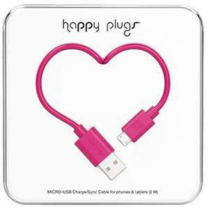 Cablu de date Happy Plugs 9925 microUSB 2m Pink