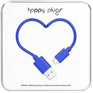 Cablu de date Happy Plugs 9926 microUSB 2m Blue