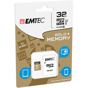 Card Emtec microSDHC Gold Plus 32GB Clasa 10 UHC-I cu cu adaptor SD