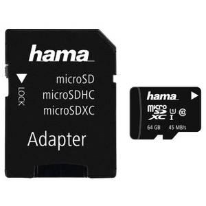 Card Hama microSDXC 64GB 45 Mbs Clasa 10 cu adaptor SD