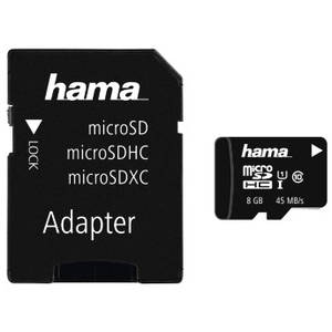 Card Hama microSDHC 8GB 45 Mbs Clasa 10 cu adaptor SD