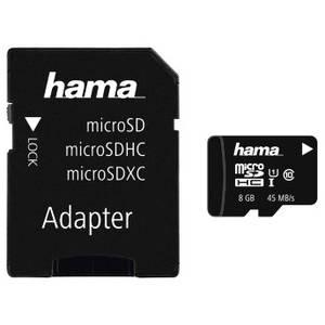 Card Hama microSDHC Action 8GB 45 Mbs Clasa 10 cu adaptor SD