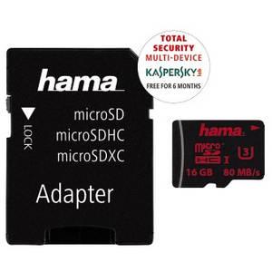 Card Hama microSDHC 16GB 80 Mbs UHS-I U3 cu adaptor SD