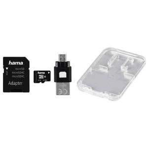 Card Hama microSDHC 16GB 22 Mbs Clasa 10 cu adaptor SD si card OTG USB