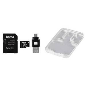Card Hama microSDHC 8GB 22 Mbs Clasa 10 cu adaptor SD si card OTG USB