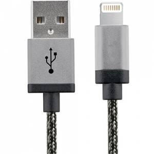 Cablu de date Star USB la Lightning 1m Aluminium Alb Negru