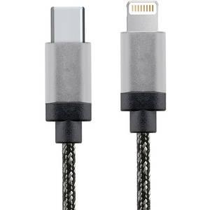 Cablu de date STAR USB-C la Lightning 1m Aluminiu Alb