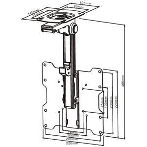 Suport TV Multibrackets tavan MB-9826 Flip 90 grade 15 - 37 inch 20 kg negru