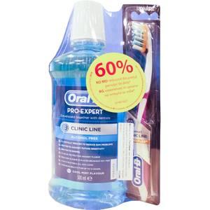 Apa de gura Oral-B Clinic Line 500ml + Periuta dinti Oral B Clinic Line ProFlex 35 soft