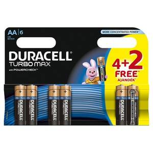 Baterie Duracell Turbo Max AA LR06 4+2 gratis Negru