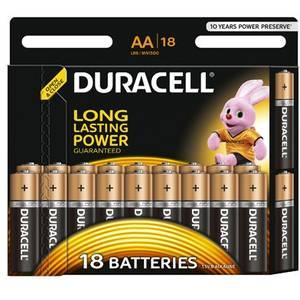 Baterie Duracell Basic AA LR06 18buc Negru