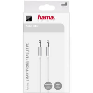 Cablu audio Hama 80534 ColorLine Jack-Jack 3.5mm pentru smartphone 1m alb