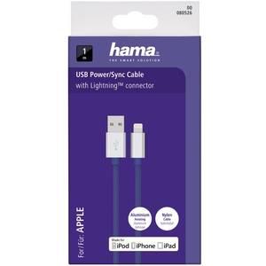 Cablu de date Hama 80526 ColorLine Lightning pentru iPhone 1m albastru