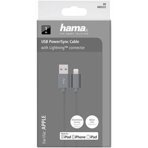 Cablu de date Hama 80522 ColorLine Lightning pentru iPhone 1m gri
