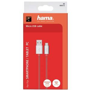 Cablu de date Hama 80512 ColorLine microUSB 1m rosu
