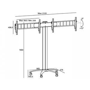 Suport TV podea Multibrackets STDLCD-MB-6245 40 - 55 inch pentru 2 televizoare
