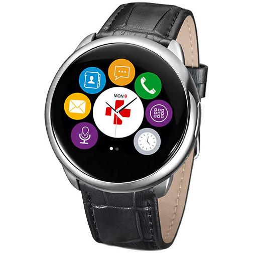 Smartwatch Zeround Premium Curea Piele + Curea Silicon Negru