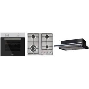 Pachet Pyramis Home Style Cuptor electric 60IN 1006 + Plita gaz Ecoline 60BAZX + Hota Telescopica Silver Sliding Black & Inox