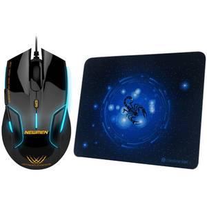 Mouse Newmen N500 Black plus MP235 Mousepad Gaming Combo