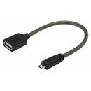 Cablu OTG Y-C438  USB 2.0. AF - microUSB BM  Black