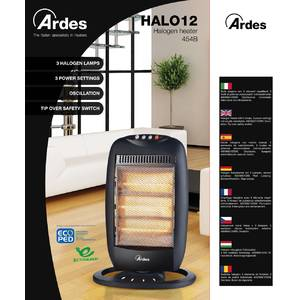 Radiator cu halogen Ardes AR454B 1200W 3 setari de caldura negru