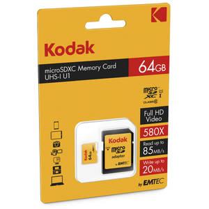 Card Kodak microSDXC 64GB Clasa 10 UHS-I U1 20MB/s cu adaptor SD