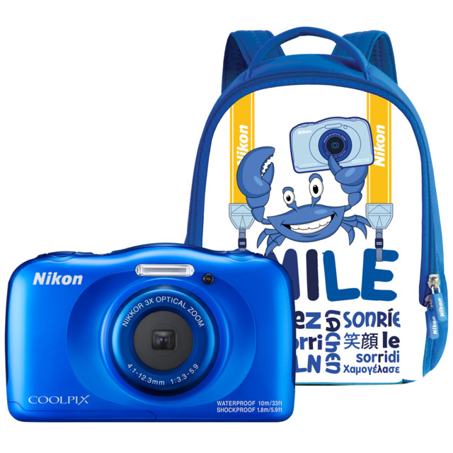 Aparat Foto Compact Coolpix W100 13.2 Mpx Zoom Optic 3x Subacvatic Backpack Kit Blue