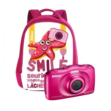 Aparat Foto Compact Coolpix W100 13.2 Mpx Zoom Optic 3x Subacvatic Backpack Kit Pink