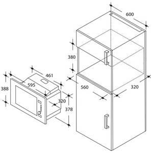 Cuptor cu microunde incorporabil Candy MIC20GDFX 20 litri Inox