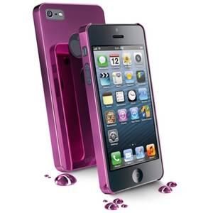 Husa Protectie Spate Cellularline CHRMIPHONE5P Chrome+Folie Oglinda Roz pentru APPLE iPhone 5, iPhone 5s