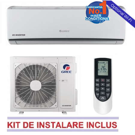Aparat de aer conditionat Gree LOMO GWH09QB-K3DNA1C 9000 BTU A++/A+ Alb WI-FI Optional + Kit Instalare Inverter