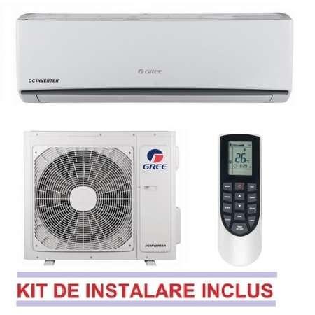 Aparat de aer conditionat Gree LOMO GWH12QB-K3DNA1C + Kit Instalare 12000 BTU Inverter A++/A+ Alb