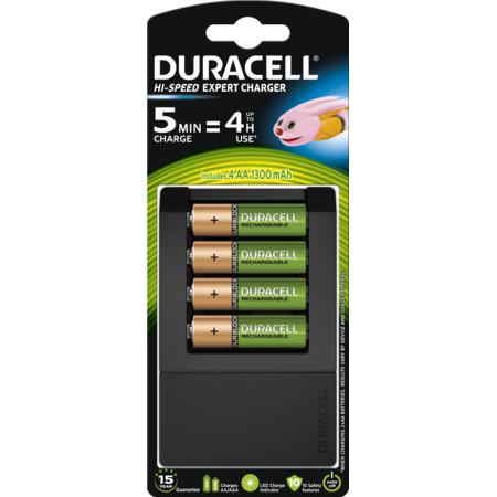 Incarcator acumulatori CEF15 + Duracell acumulatori AAK4 1300mAh Negru/Verde