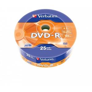 Mediu optic Verbatim DVD-R 16x 4.7GB Matt Silver 25 Pack Wrap