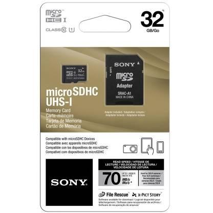 Card Sony microSDHC 32GB, UHS-I, clasa 10, 70MB/s cu adaptor SD
