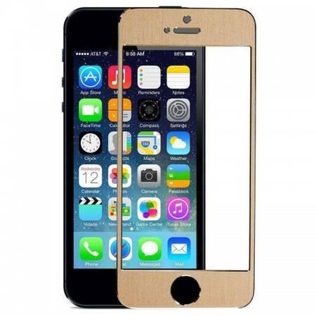 Folie protectie Tempered Glass din sticla securizata pentru iPhone 5 / 5S / 5C - Gold aluminium