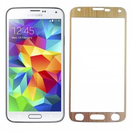 Folie protectie Tempered Glass din sticla pentru Samsung Galaxy S5 - aluminiu auriu